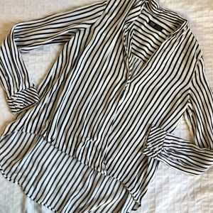 Zara blouse crossover striped high low